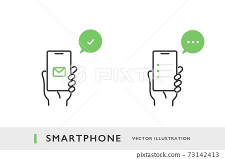 스마트 폰을 사용하여 통신의 교환을 이미지 일러스트 소재 73142413