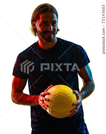young soccer player isolated white background silhouette shadow 73143683