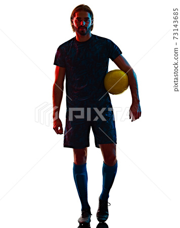 young soccer player isolated white background silhouette shadow 73143685