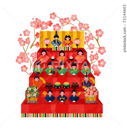 Hinamatsuri Hina娃娃5層裝飾和梅花框架矢量圖 73144603