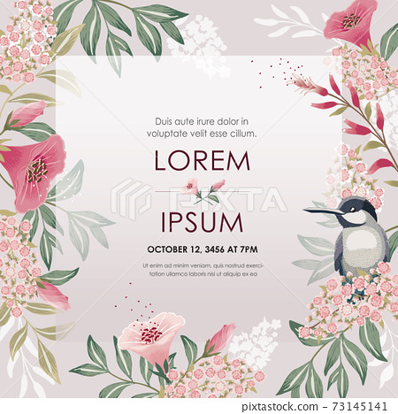 Vector illustration of a beautiful floral frame with a cute bird in spring. Design for banner, poster, card, invitation and scrapbook 73145141