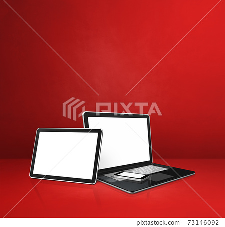 Laptop, mobile phone and digital tablet pc on red office desk 73146092