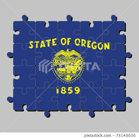 Jigsaw puzzle of Oregon flag in cost of arm in gold color on blue field. The states of America 73148030