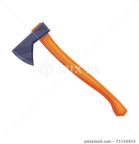 Axe with Steel Head or Blade and Wooden Handle Vector Illustration 73148954