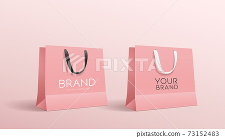 Shopping pink paper bag, collections mock up design 73152483