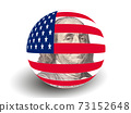 Portrait of Benjamin Franklin with USA Flag Globe 73152648