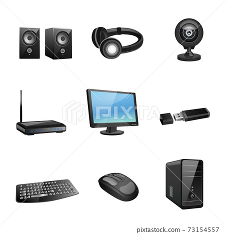 Computer accessories icons black 73154557