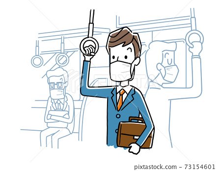 벡터 일러스트 소재 : 마스크를 착용하고 기차를 타고 남성 73154601