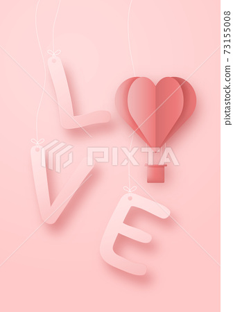 3D origami hot air balloon flying with heart love text background. Love concept design for happy mother's day, valentine's day, birthday day. Poster and greeting card template. Vecto art illustration. 73155008