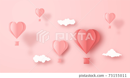 3D origami hot air balloon heart flying with cloud on sky background. Love concept design for happy mother's day, valentine's day, birthday day. Vector paper art illustration. 73155011