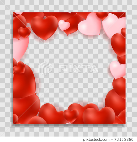 Empty Blank Photo Frame with Hearts Template for Media Post in Social Network for Valentine s Day. Vector Illustration EPS10 73155860