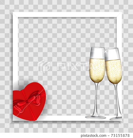 Empty Blank Photo Frame with Hearts Template for Media Post in Social Network for Valentine s Day. Vector Illustration EPS10 73155878
