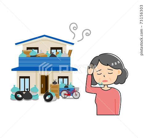 一個在有很多垃圾的房子裡遇到麻煩的女人 73156303