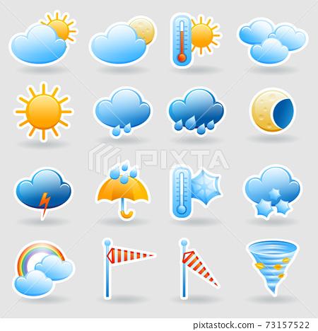 Weather forecast symbols icons set 73157522