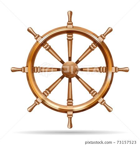 Antique wooden ship wheel 73157523