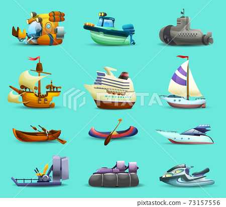 Ships And Boats Icons Set 73157556