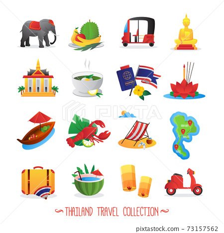 Thailand Travel Flat Icons Collection 73157562