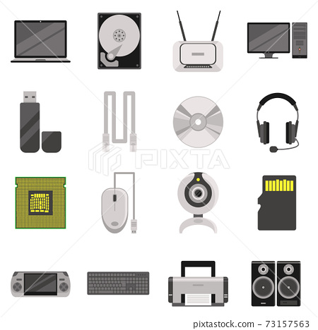 Computer Components And Accessories Icon Set 73157563