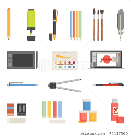 Drawing Tools Icons Flat Set 73157569