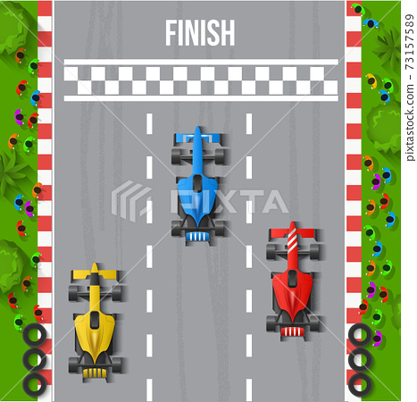 Race Finish Top View Illustration 73157589