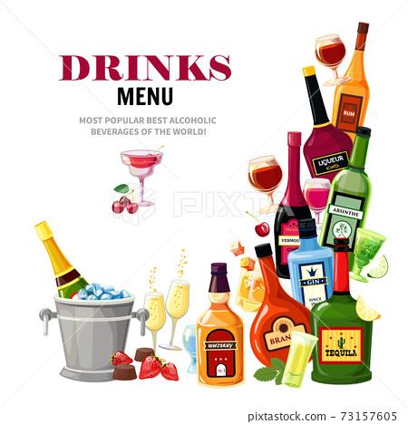 Alcoholic Beverages Drinks Menu Flat Poster 73157605