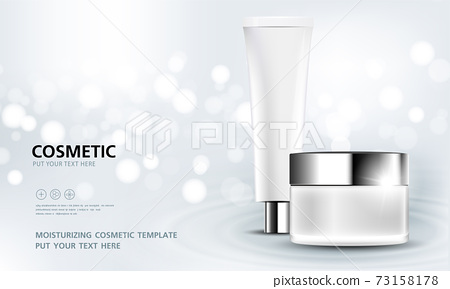 cosmetic product poster, bottle package design with moisturizer cream or liquid, sparkling background with glitter polka, vector design. 73158178