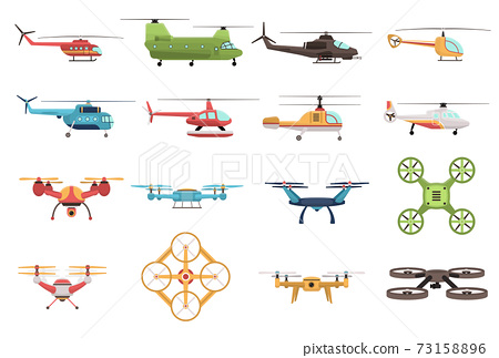 Helicopters And Drone Set 73158896