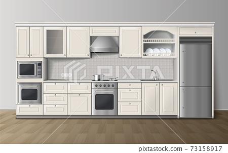 Luxury Kitchen White Realistic Interior Image 73158917