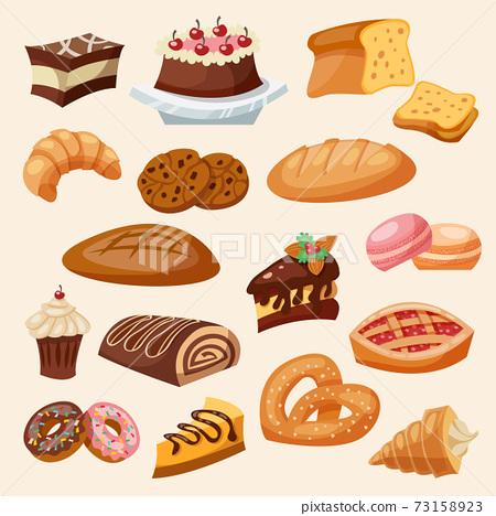 Flat Icon Pastry Set 73158923