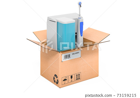 Oral irrigator inside cardboard box, delivery concept. 3D rendering 73159215