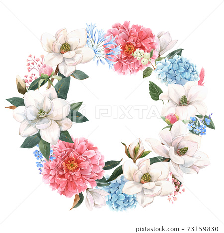 Beautiful stock illustration with gentle hand drawn watercolor floral composition. Magnolia and hydrangea flowers. 73159830