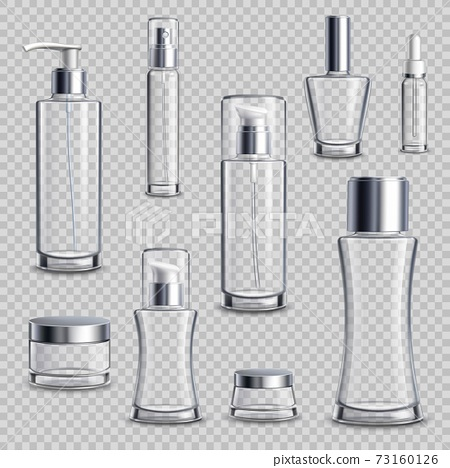 Cosmetics Package Realistic Transparent Set 73160126