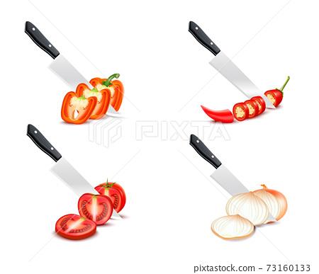 Knife Chopping Vegetable 3D Design Set 73160133