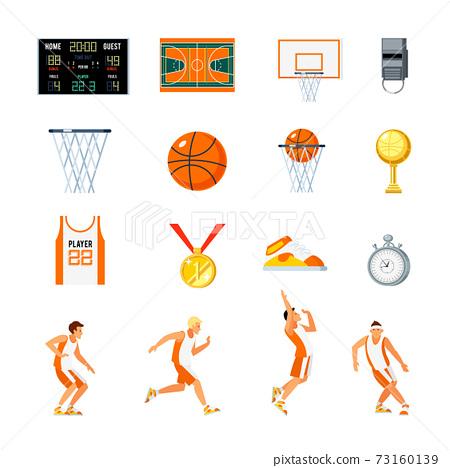 Basketball Orthogonal Icons Set 73160139