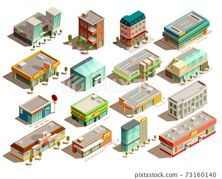 Store Buildings Isometric Icons Set 73160140