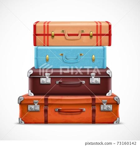 Retro Travel Luggage Suitcases Realistic Set 73160142