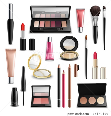 Makeup Cosmetics Accessories Realistic.Items Collection 73160159