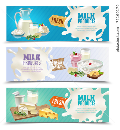 Dairy Products Horizontal Banners Set 73160170
