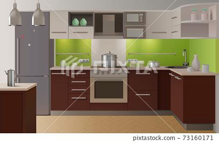 Colored Kitchen Interior 73160171
