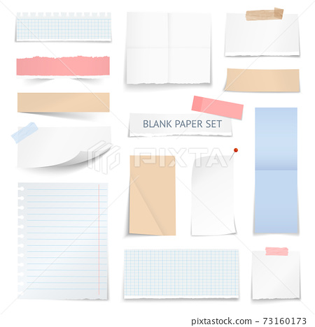 Blank Paper Sheets Strips Realistic Collection 73160173