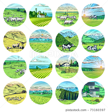 Rural meadow stickers. A village landscape with cows, goats and lamb, hills and a farm. Sunny scenic 73160397