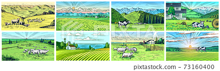 Rural meadow set. A village landscape with cows, goats and lamb, hills and a farm. Sunny scenic 73160400