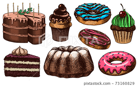 Cakes and cream tarts, fruit desserts and muffins. Chocolate Donuts, Sweet Food. Hand drawn pastries 73160829