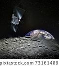 Earth rises above lunar horizon and spaceship.  73161489