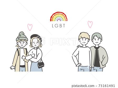 LGBT 남녀의 일러스트 73161491