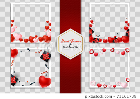 Empty Blank Photo Frame Set with Hearts Template for Media Post in Social Network. Vector Illustration EPS10 73161739