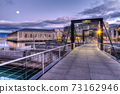 Footbridge on Seujet dam, Geneva, Switzerland, HDR 73162946
