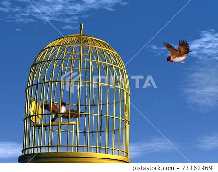 Freedom versus prison - 3D render 73162969