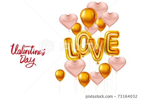 Happy Valentines Day, Love gold helium metallic glossy balloons realistic text, lettering, heart shape flying pink balloons, party, decoration, greeting card. Vector banner flyer isolated 73164032