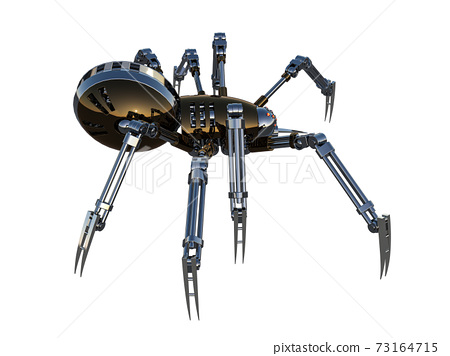 Mechanical spider, high resolution image isolated on white background. 3d rendering, 3d illustration. 73164715